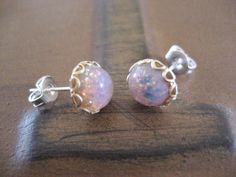 b39ffebc6 Tiny Fire Opal Stud Post- Round Glass Stainless Steel Earrings Small 7mm  Pink
