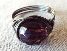 Gunmetal Ring Purple Glass Ring Gothic Ring by PepperandPomme