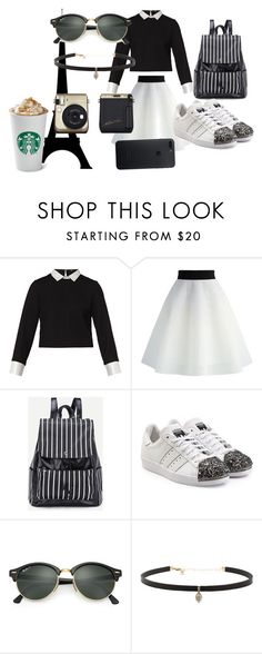 """""""The Black Is Perfect"""" by moli-angeless on Polyvore featuring moda, Maje, Chicwish, adidas Originals, Ray-Ban y Carbon & Hyde"""