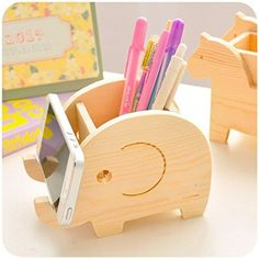Amazon.com : Wooden Desk Organizer / Pen Holder / Office Supplies Elephant…