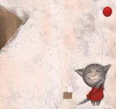 Red Balloon kitty by Catherine Zarip Crazy Cat Lady, Crazy Cats, Illustrator, Red Balloon, Kids Room Art, Small Art, Illustration Art, Illustration Children, Cartoon Illustrations
