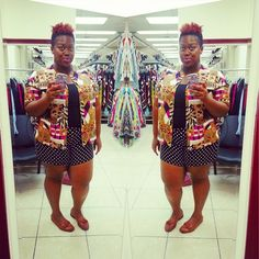 quayla_venezuela's photo on Instagram. Thrifting. Thrifted.  Natural hair. Mixed prints. Polkadots. Italian loafers. Plus size. Forever 21 shirts.
