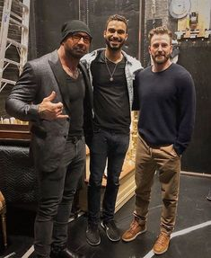 Chris Evans and Dave Bautista backstage at the Hamilton Musical play w/someone they met on Dave Bautista, Richard Rodgers, Robert Evans, Stud Muffin, Wwe Champions, Marvel Comic Character, Chris Evans Captain America, Human Torch, Steve Rogers