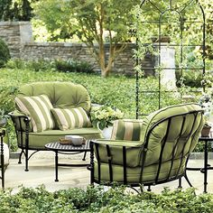 Add patio furniture to your home or deck and enjoy outdoor entertaining in style with friends and family! Shop patio furniture from Ballard Designs today. Outdoor Walls, Outdoor Rooms, Outdoor Living, Outdoor Furniture Sets, Outdoor Decor, Furniture Ideas, Urban Deco, Metal Lawn Chairs, Outside Room