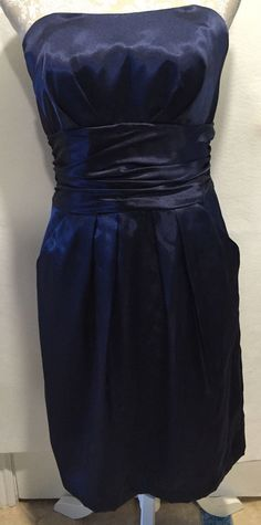 DAVID'S BRIDAL Blue Strapless Homecoming Cocktail Bridesmaid Prom Dress Size 8…