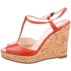 Pre-owned Christian Louboutin Cork Platform Wedges ($195) ❤ liked on Polyvore featuring shoes, sandals, red, ankle tie wedge sandals, buckle sandals, red wedge shoes, red ankle strap sandals and ankle wrap wedge sandals