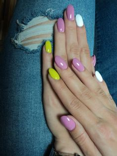 pink, white, neon yellow oval nails