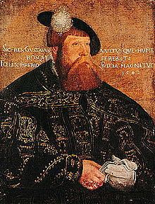 Gustav I (1496 - 1560). King of Sweden from 1523 until his death in 1560. He emerged as the winner in the Swedish War of Liberation. He was a supporter of the Swedish Reformation. He is known as the father of the nation of Sweden and is the first monarch of the House of Vasa. He married three times and had nine children. Lappland, Helsinki, Renesanssi, Kuningas, Muotokuva, Tanska, Norja, Historia, Kalmar