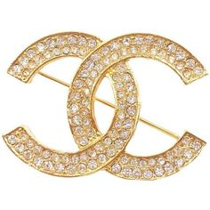 Pre-owned Chanel 24K Gold Plated Silver Crystal CC Brooch ($520) ❤ liked on Polyvore featuring jewelry, brooches, 24 karat gold jewelry, chanel jewellery, silver gold plated jewellery, chanel brooch and pre owned jewelry