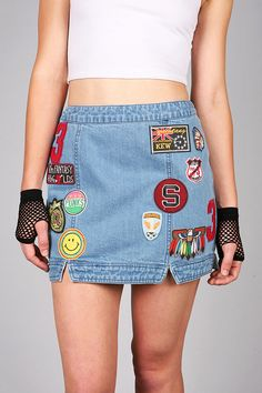 Patched Nostalgia Denim Mini | Trendy Skirts at Pink Ice #patchskirts #skirts #patches #pinkice