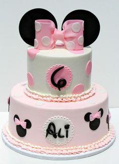 "Minnie birthday cake, 6""/10"" buttercream with fondant details"