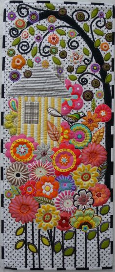 applique birdhouse quilt - so pretty. Looks like it would be fun to make :) So wished I like doing applique! Patchwork Quilting, Small Quilts, Mini Quilts, Wool Applique, Applique Quilts, Flower Applique, Quilting Projects, Quilting Designs, Quilt Design