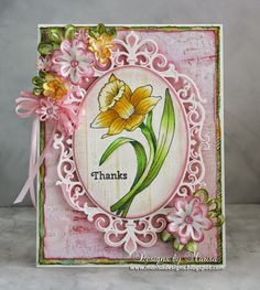 Designs by Marisa: JustRite Papercraft February Release - Thank You Daffodil Clear Stamp Set