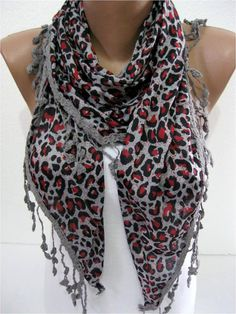 Leopard  Scarf   Triangular Shawl-gift Ideas For Her by MebaDesign