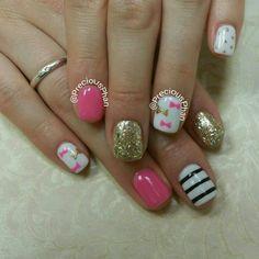 Kate spade inspired. Bows, stripes. #PreciousPhanNails. Nail Design, Nail Art, Nail Salon, Irvine, Newport Beach
