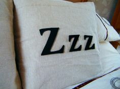 Catching up on some Zzz's cushion (pillow, home decor, white, black, typography, sleep, letters, sewing)
