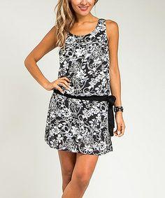 Loving this Black & White Floral Sash Shift Dress on #zulily! #zulilyfinds