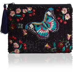 Accessorize Ava Butterfly Zip Top Purse found on Polyvore featuring polyvore, women's fashion, bags, handbags, clutches, butterfly purse, butterfly handbags, zip purse, beaded purse and man bag