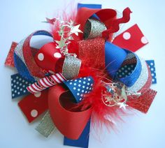 boutique 4th of JULY SPARKLE FUNKY fun hair bow clip by andjane, $12.99