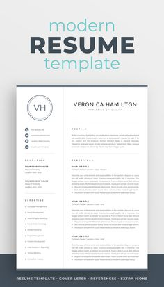 The modern resume template Veronica is designed to showcase your skills and experience in a professional and effective way. The layout is optimized for building a resume that is informative, visually attractive and easy to navigate. Includes resume, cover letter and references templates, extra social media and contact icons, and a detailed user guide. #resume #resumetemplate #resumedesign #cv #cvtemplate #cvdesign #job #jobsearch #career #careeradvice One Page Resume Template, Modern Resume Template, Cv Template, Resume Templates, Visual Resume, Basic Resume, Cover Letter For Resume, Cover Letter Template, Cover Letters