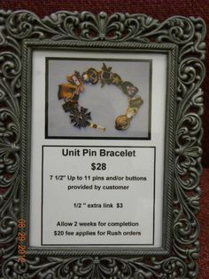 Off the Beaten Path Gift Shop on Fort Drum, NY makes a bracelet from the Unit Crest Pins or various Pins given for Military Service.