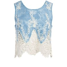 Sans Souci Crochet lace over denim tank top ($34) ❤ liked on Polyvore featuring tops, shirts, crop tops, denim, blue shirt, floral tank top, denim shirt, blue crop top and crop tank