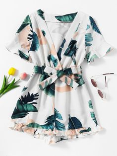 Shop Plunging V-neckline Leaf Print Self Tie Frill Romper at ROMWE, discover more fashion styles online. Cute Girl Outfits, Teen Fashion Outfits, Cute Casual Outfits, Cute Summer Outfits, Cute Fashion, Outfits For Teens, Pretty Outfits, Stylish Outfits, Dress Outfits