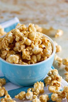 An easy recipe for homemade caramel popcorn - made from a simple brown sugar caramel, and then baked until perfectly crispy.