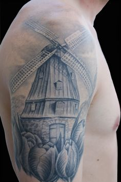 Windmill and tulips. Typical Dutch. By Sarah Eastick, Fire Vixen Tattoos