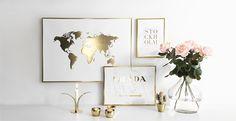 Poster i guld. Tavlor, affischer och posters med guldtryck och guldfoliering