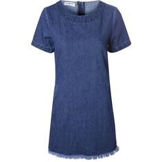 Mid Blue Denim Shift Dress ($45) ❤ liked on Polyvore featuring dresses, vestidos, blue, zip dress, blue shift dress, denim dress, zipper dress and crew neck dress