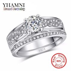 Real Original Silver Ring Sets For Women Engagement Finger Bague CZ Diamant Jewelry Vintage Wedding Accessories AR186 #Affiliate