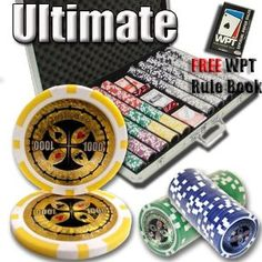 1,000 Ct Ultimate 14 Gram Clay Laser Poker Chip Set w/ Aluminum Case