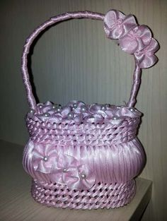 Pink Flower basket (made out of soap and ribbon) available at www.luxuryparadise.eu