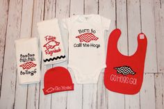 Arkansas Razorbacks Baby Gift Set - Hogs - Woo Pig Sooie - Girl or Boy - Red Chevron - Onesie Bib Burp Cloth Beanie - Baby Shower - Newborn