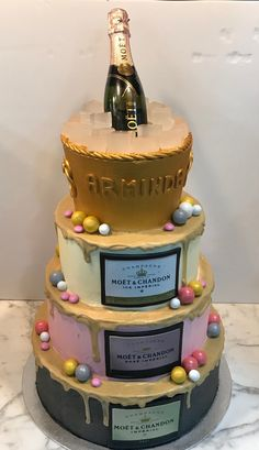 Tarta buttercream champán. Moet Chandon, Birthday Cake, Desserts, Food, Themed Cakes, Tailgate Desserts, Deserts, Birthday Cakes, Essen