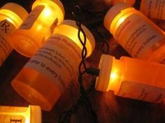 Christmas light prescription bottles.... ha ha this would be a great decoration for an Asylum, Haunted Hospital or an Over the Hill party.