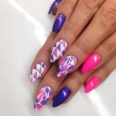 by Paulina Walaszczyk Indigo Educator! Find more inspiration at www.indigo-nails.com #nailart #nails #indigo #white #pink #retro #night #party