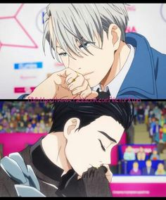 Yuri on Ice — can we just take a moment to recognize that their KISSING THEIR RINGS AT THE SAME TIME