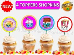 Shopkins Party CUPCAKE toppers Instant Download printable, cake pop YOU PRINT #shopkins #party