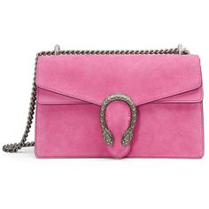 Gucci Dionysus Small Suede Shoulder Bag ($2,400) ❤ liked on Polyvore featuring bags, handbags, shoulder bags, bright pink, suede handbags, chain strap purse, flap purse, shoulder handbags and structured purse