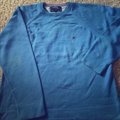 Tommy Hilfiger Men's Sweater Tommys Hilfiger Men's Large Blue Sweater. In excellent condition. It only has a small yellow stain on the elbow. Sweaters