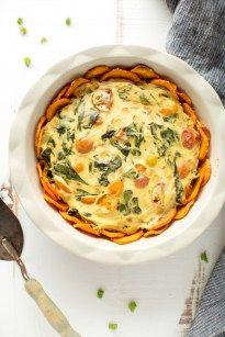 Easy vegan veggie quiche with sweet potato crust - Nutritional Foodie
