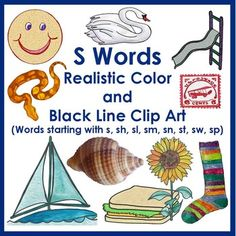 This S Word Clip Art Package includes my original clip art of 44 items  that begin with the letter S.  Each image is included in at least one color and one black line clip, amounting to 121 resizable clip art images in .PNG format and 300 Dpi, about 2.5 x 2.5.1.Sailboat2.Salamander3.Sandwich4.Sap5.Scarf6.Scissors7.Shamrock8.Sheep9.Ship10.Shirt11.Shoe12.Shovel13.Sink14.Six15.Sled16.slide17.Smile18.Smoke19.Snail20.Snake21.Snowman22.Sock23.Soup24.South Carolina25.South…