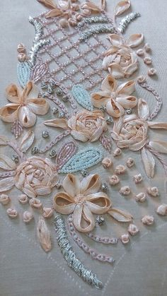 Best 12 ribbon flowers and saadi hand emb Embroidery Neck Designs, Bead Embroidery Patterns, Hand Embroidery Flowers, Hand Work Embroidery, Couture Embroidery, Silk Ribbon Embroidery, Embroidery Hoop Art, Tambour Beading, Motifs Perler