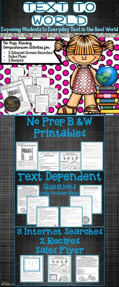 Looking for real world text with text dependent questions? This real world informational packet is perfect for students to improve their reading comprehension!