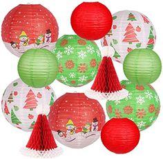 Lantern Christmas Decor, Christmas Party Decorations, Christmas Paper, Christmas Colors, Christmas Snowman, Red Christmas, Decoration Party, Hanging Paper Lanterns, Lanterns Decor