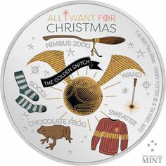Harry Potter - Weihnachtsgrüße - 1 Unze Feinsilber Chocolate Frog, Golden Snitch, Harry Potter Wand, Snowy Owl, Silver Coins, Wands, Cool Designs, Seasons, Pure Products