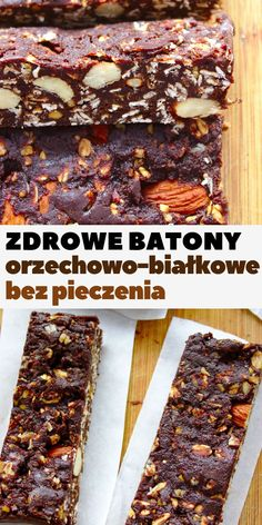 orzechowo-bialkowe-batony-bez-pieczenia Healthy Sweets, Healthy Snacks, Vegan Recepies, Homemade Granola Bars, Eat Happy, Good Food, Yummy Food, Vegan Treats, Tasty Dishes