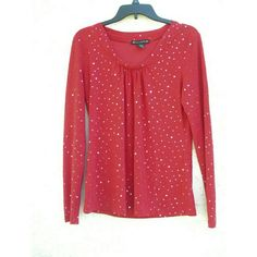 Red Sparkle Top Red, sleeved fashion top, vintage. Perfect condition. Tops Blouses